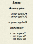 List of apples in a basket