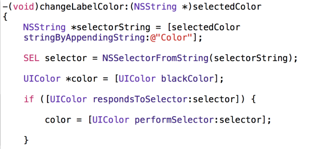 Selector code example